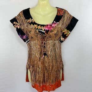 Just Cavilli Embroidered Gold Thread Tunic Top 4